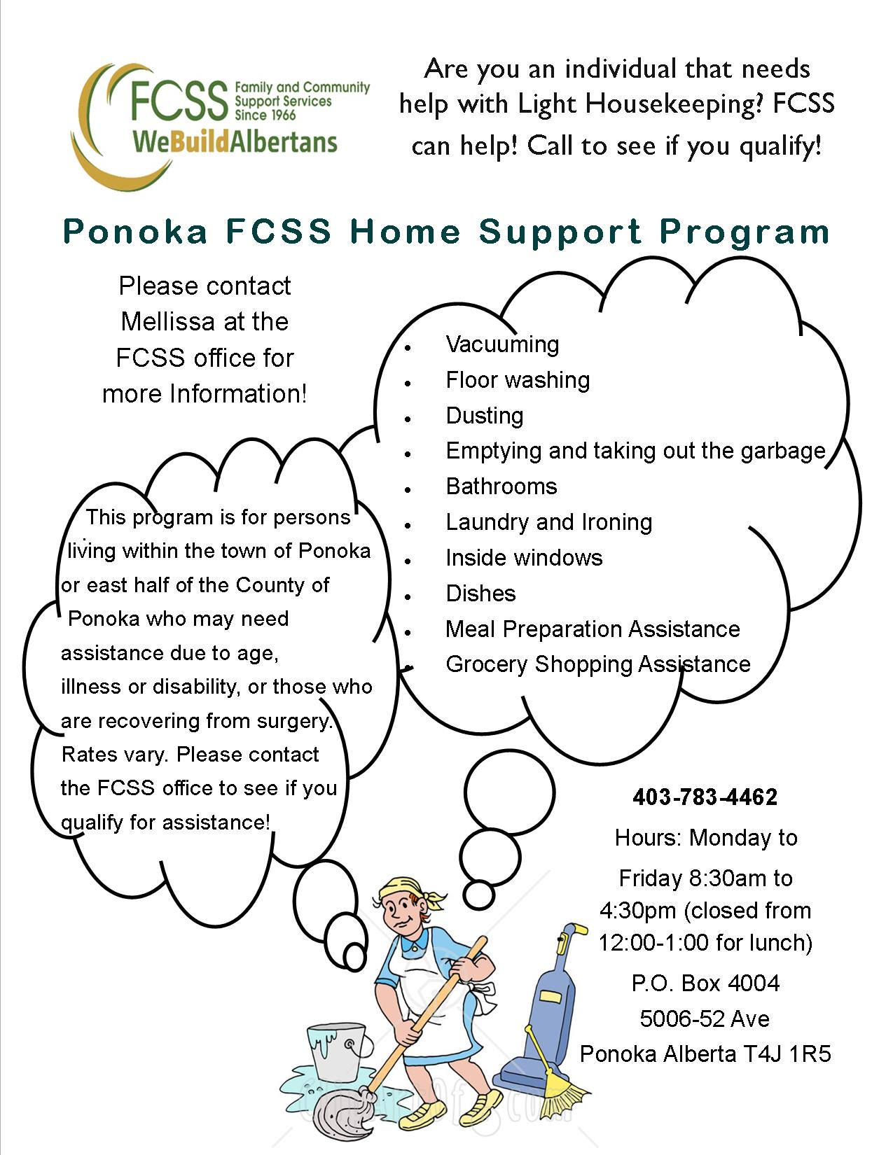 Home Support Clients Wanted - contact  403-783-4462 for more information
