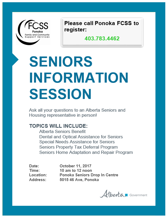 Seniors Information Session October 11, 2017  Ponoka Drop-in Centre