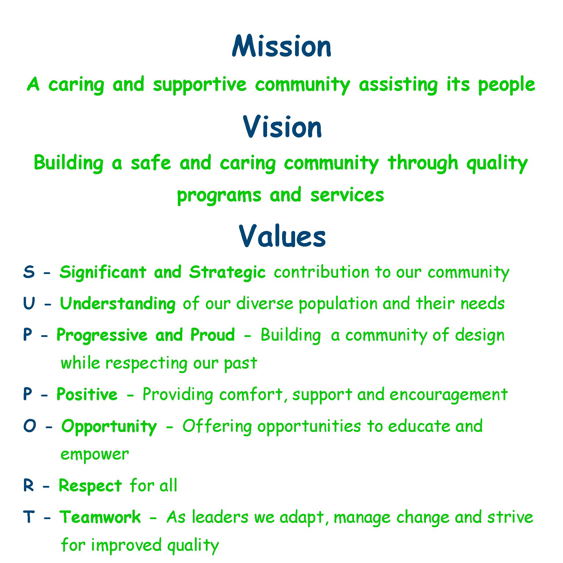 Mission, Vision and Value Statements